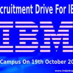 Recruitment Drive For IBM Off Campus On 19th October 2014