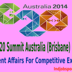 9th G20 Summit Australia (Brisbane) 2014: Current Affairs For Competitive Exams