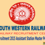 South Western Railway (SWR) Recruitment 2015 For 118 Assistant Station Master Posts