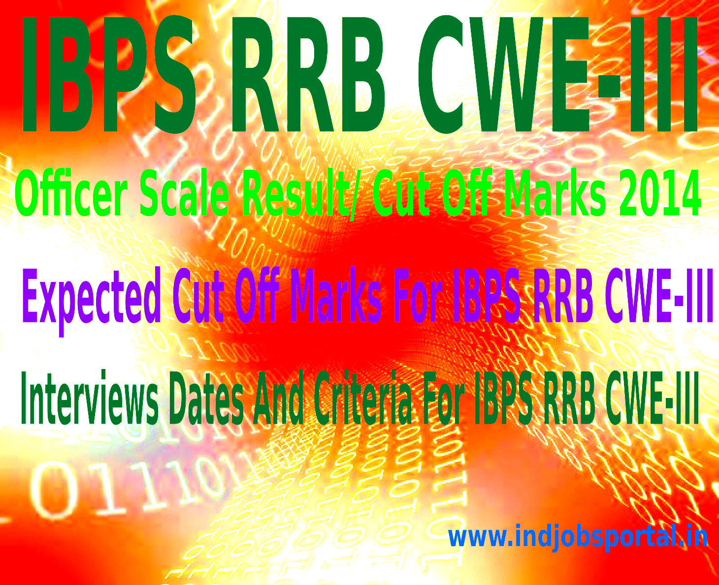 IBPS RRB CWE-III Officer Scale Result,Cut Off Marks 2014