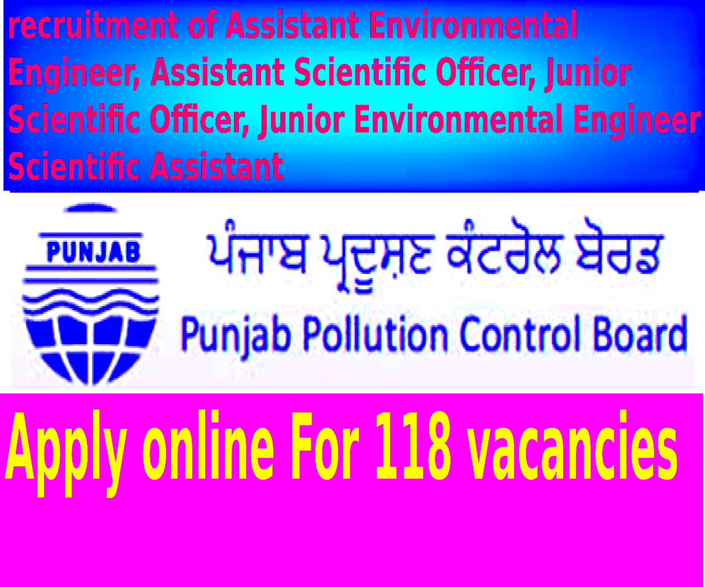 Punjab Pollution Control Board Recruitment Notification 2014