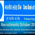 SBI Recruitment October 2014: Apply Online For Senior Executive Posts