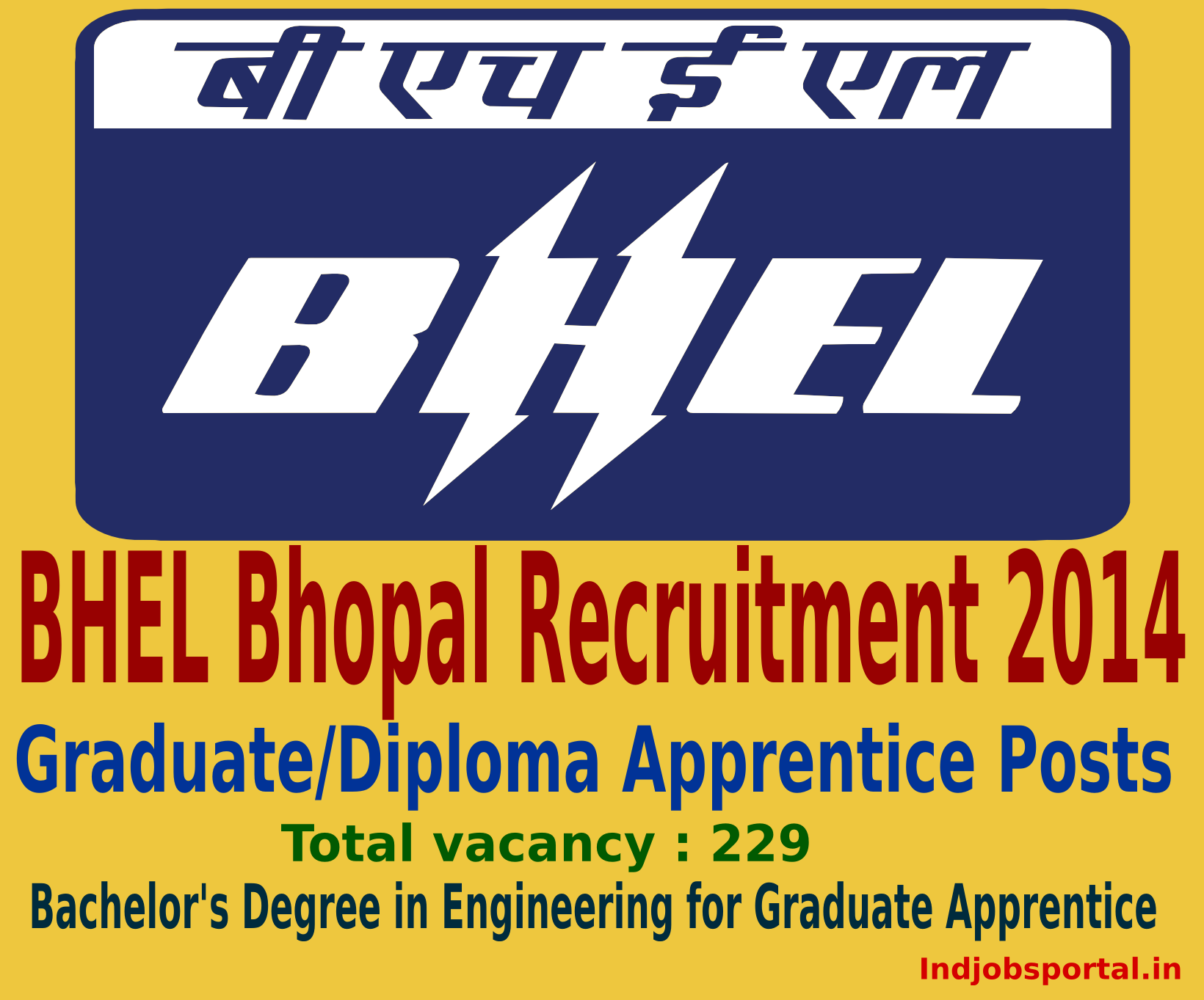 BHEL Bhopal Recruitment 2014 for Apprentices Post online Application