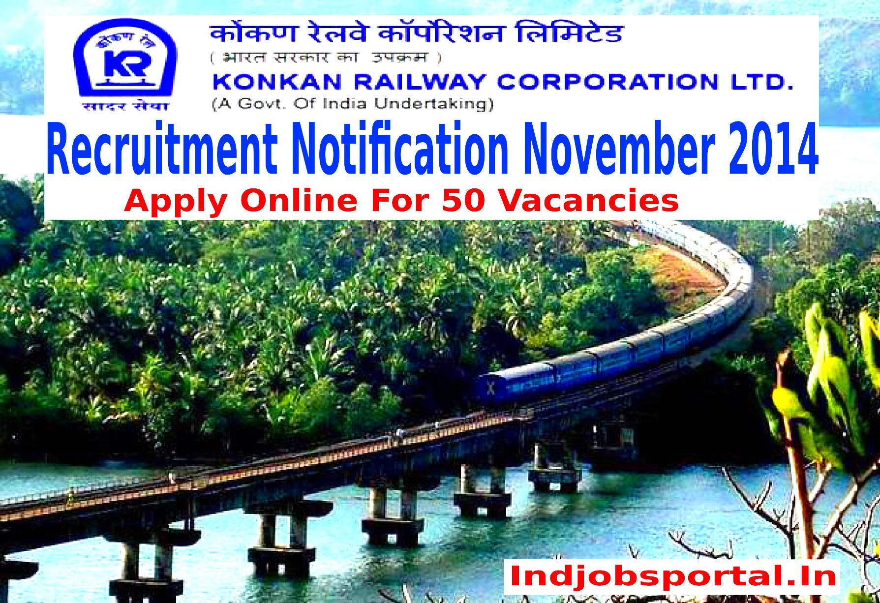 Konkan Railway Recruitment 2014 for Lowest Categories vacancy
