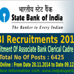 SBI Recruitment 2014 For Associate Bank Clerical Cadre Posts