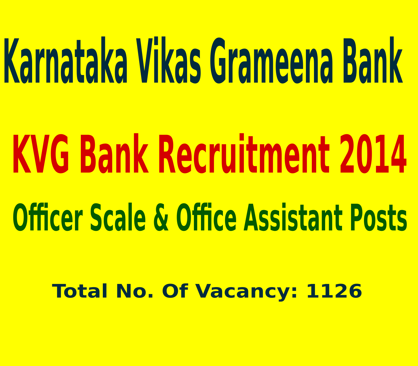 KVG Bank Recruitment 2014 For 1126 Officer Scale & Office Assistant Posts