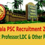 Kerala PSC Recruitment 2015 For Asst Professor LDC & Other Posts