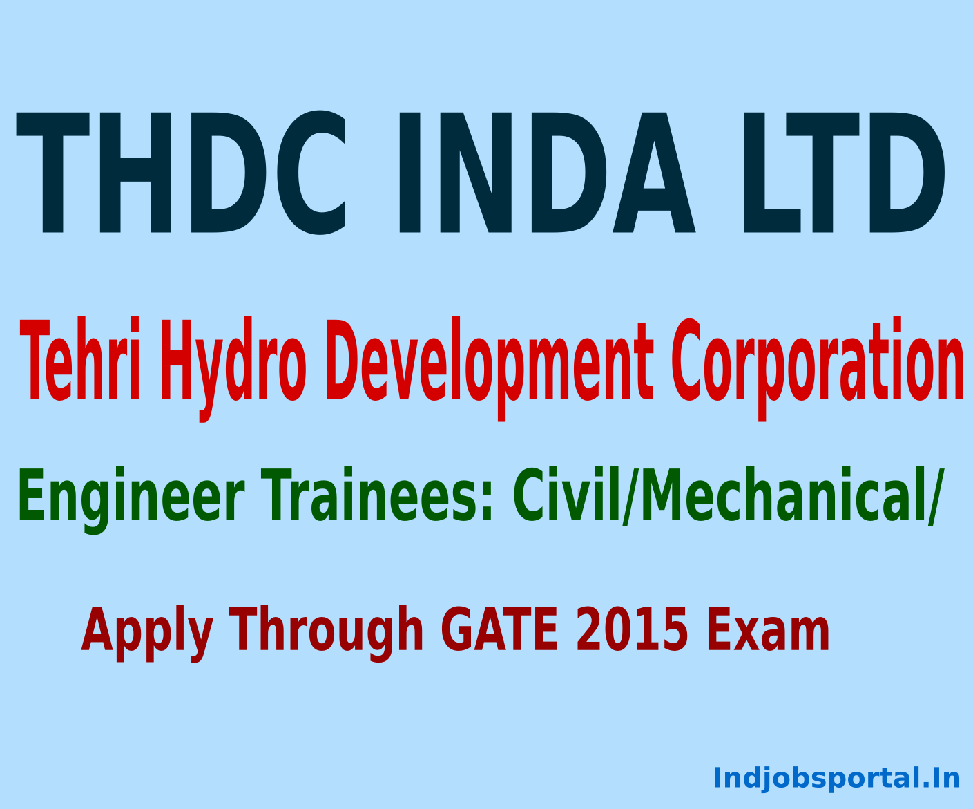 THDC Engineer Trainees Recruitment 2014 Online Applications