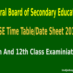 CBSE Time Table Date Sheet 2015 For 10th And 12th Class Examiniation