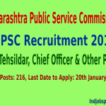 MPSC Recruitment 2015 For 216 Dy Tehsildar, Chief Officer & Other Posts