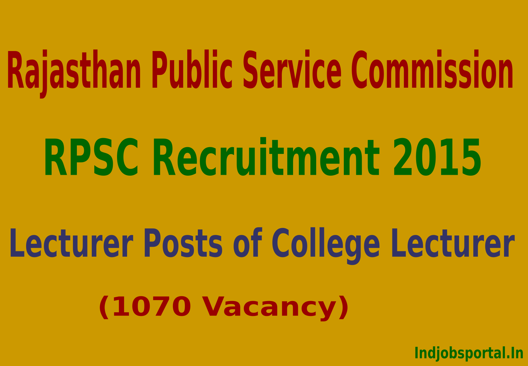 RPSC Recruitment 2015 Apply Online For 1070 Lecturer Posts