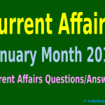 Rundown Of Some Current Affairs Questions, January Month 2015