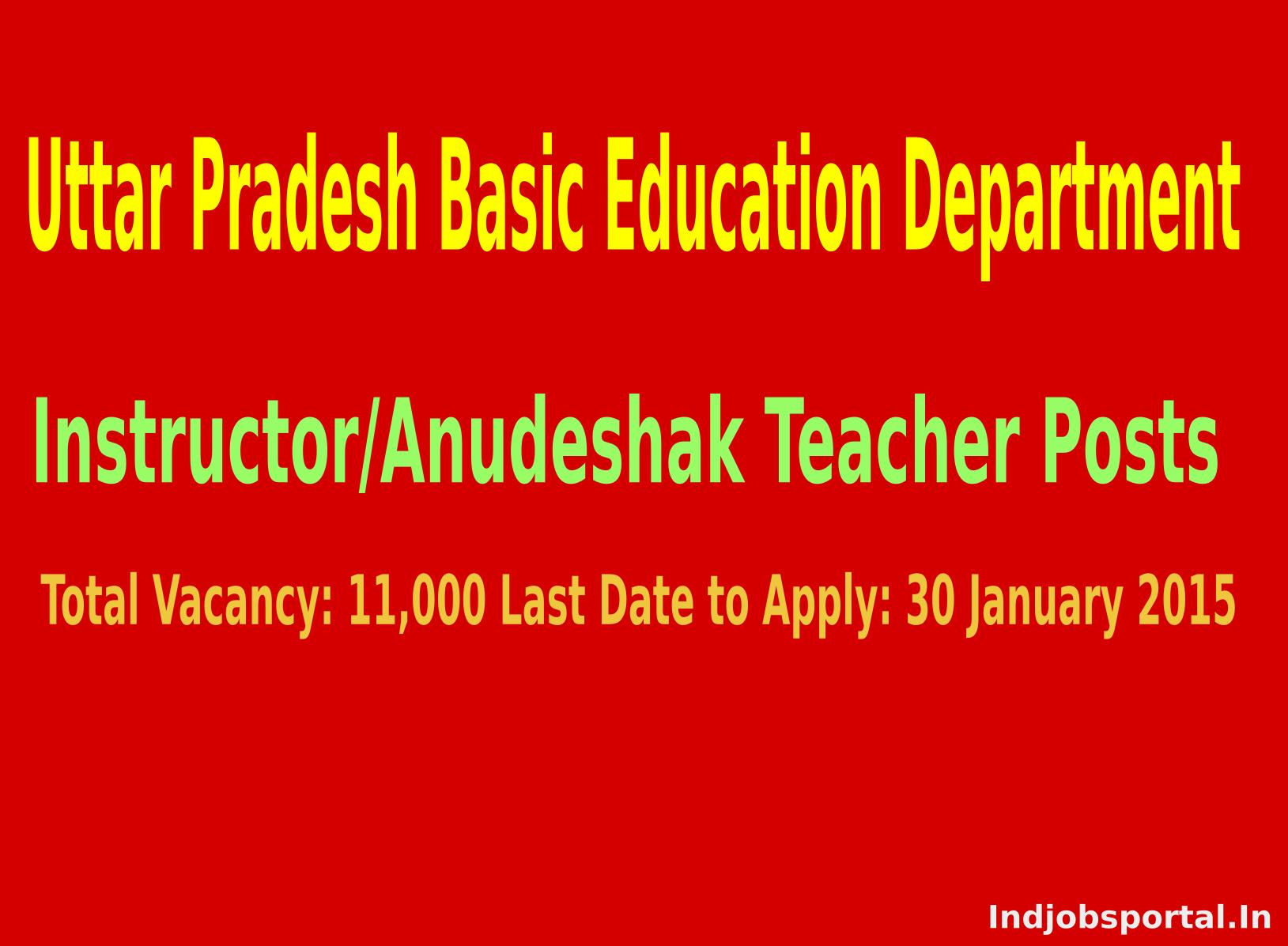 UP Basic Education Department Recruitment 2015 for 11000 InstructorAnudeshak Teacher Posts