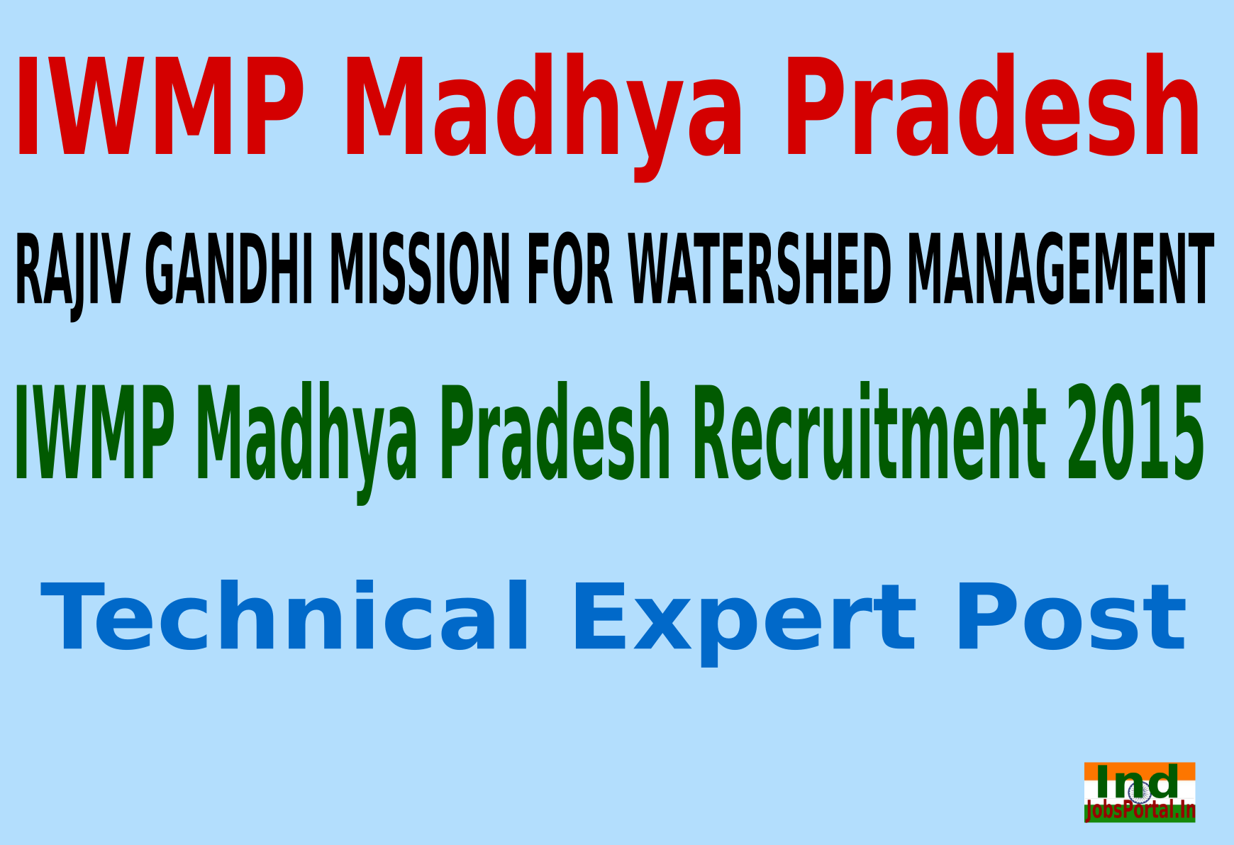 IWMP Madhya Pradesh Recruitment 2015 For 61 Technical Expert Post