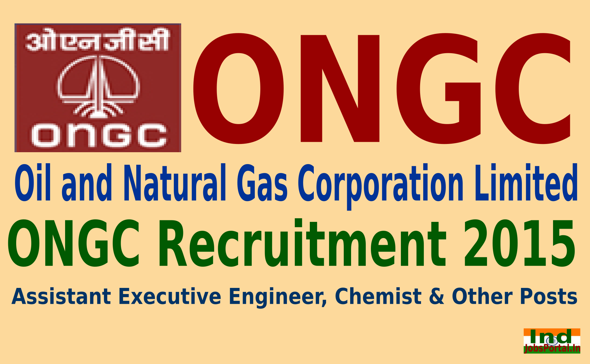 ONGC Recruitment 2015 For 873 Assistant Executive Engineer, Chemist & Other Posts