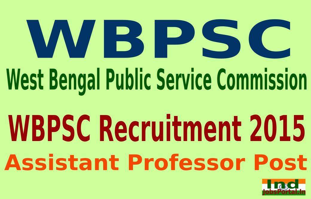 WBPSC Recruitment 2015 Online Application For 411 Assistant Professor Post