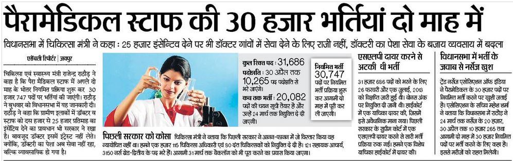 NRHM Rajasthan Recruitment 2015 For 30147 Paramedical Staff Posts