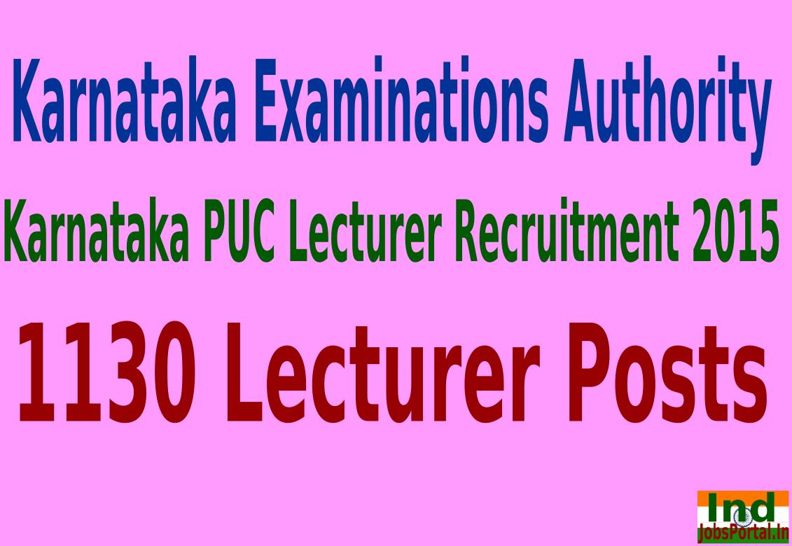 Karnataka PUC Lecturer Recruitment 2015 For 1130 Lecturer Posts
