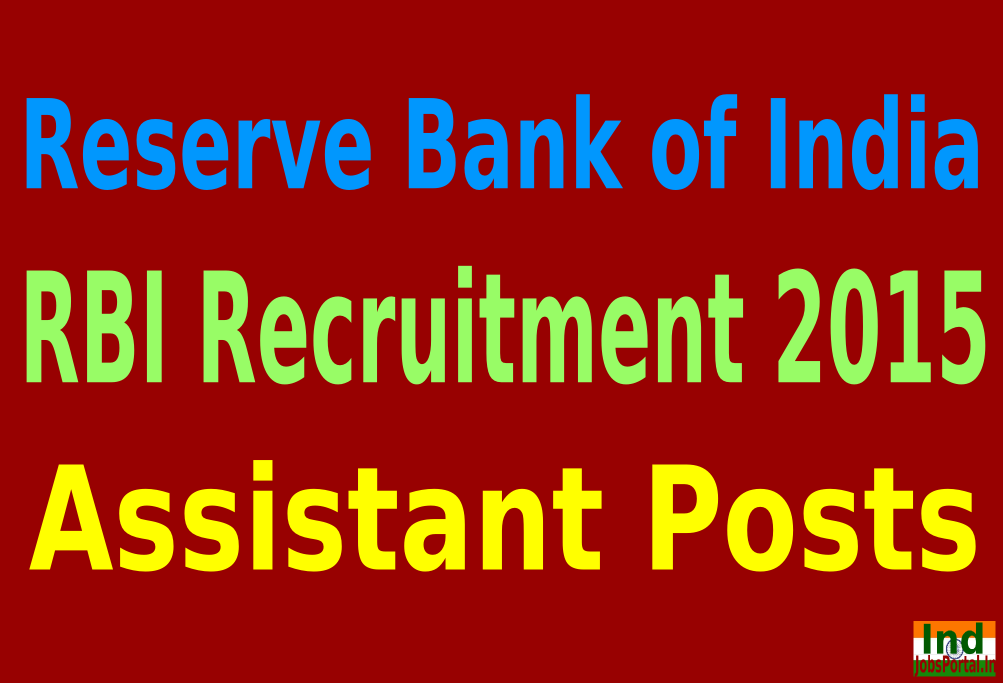 RBI Recruitment 2015 For 504 Assistant Posts