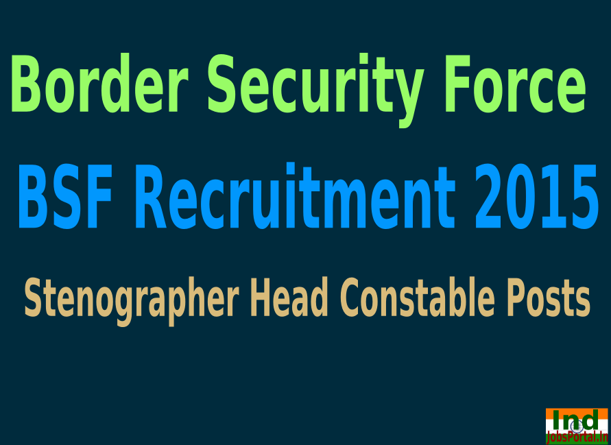 BSF Recruitment 2015 For 136 Stenographer Head Constable Posts