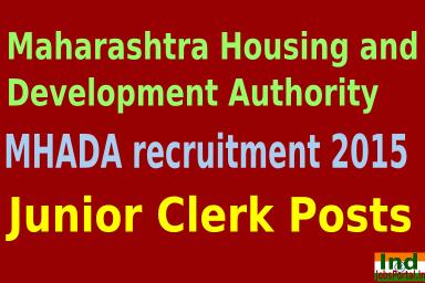 MHADA recruitment 2015 For 224 Junior Clerk Posts
