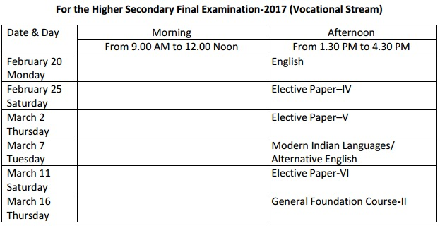 Assam Board HS Time Table 2018