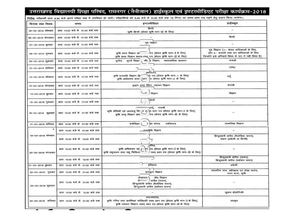 Uttarakhand Board 10th Date Sheet 2018 Intermediate Exam Time Table UK Board Exam Routine PDF Download